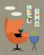 Mid Century Lamp Prints - Mini Oblongs and Mobile Print by Donna Mibus