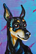 Doberman Pinscher Paintings - Mini Pinsch by Dena Lowery