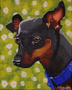 Doberman Pinscher Puppy Paintings - Mini Pinscher  by Vicki Maheu