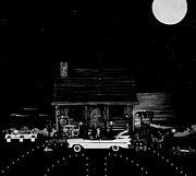 Leslie Crotty - Miniature B/w Log Cabin...