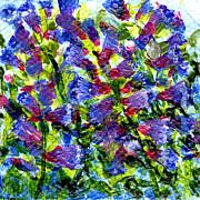 Regina Valluzzi - Miniature blue penstemmons 2 by 2 inch painting