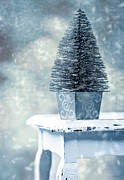 Falling Snow Posters - Miniature Christmas Tree Poster by Christopher and Amanda Elwell