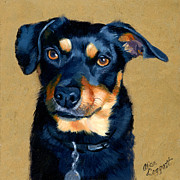 Dog Portrait Originals - Miniature Pinscher Dog Painting by Alice Leggett