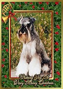 Miniature Pastels - Miniature Schnauzer Dog Christmas by Olde Time  Mercantile
