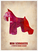 Pets Art Digital Art Metal Prints - Miniature Schnauzer Poster Metal Print by Irina  March