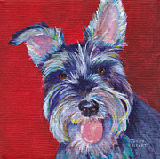 Miniature Schnauzer Paintings - Miniature schnauzer by Terry Albert