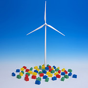 Toy Photo Posters - Miniature wind turbine Poster by Bernard Jaubert