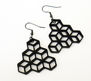Laser Cut Jewelry - Minimal Geometry - Cube Earrings by Rony Bank