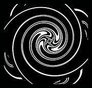 Concentration Digital Art - Minimalist Art Circles Black and White No.268 by Drinka Mercep