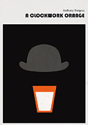 Minimalist Digital Art Framed Prints - Minimalist book cover Anthony Burgess Clockwork orange Framed Print by Budi Satria Kwan