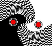 Op Art Digital Art Posters - Minimalist Op Art Black White Red No.216 Poster by Drinka Mercep