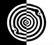 Op Art Digital Art Posters - Minimalist Op Art Circles Black White Red No.114. Poster by Drinka Mercep