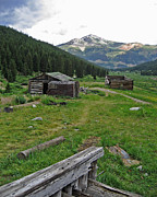 Log Cabin Art Posters - Mining Cabins at Mayflower Gulch Poster by Todd Hartzo