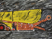 Bolts Painting Prints - Mining Coal Underground Print by Jeffrey Koss