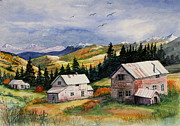 Abandoned Houses Painting Metal Prints - Mining Days Over Metal Print by Marilyn Smith
