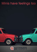 Mini Cooper Digital Art Posters - Minis Have Feelings Too Poster by Nomad Art And  Design