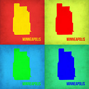 World Map Digital Art Metal Prints - Minneapolis Pop Art Map 1 Metal Print by Irina  March