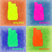 Map Art Digital Art Prints - Minneapolis Pop Art Map 2 Print by Irina  March