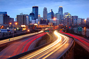 Light Trails Framed Prints - Minneapolis Skyline at Dusk Early Evening Framed Print by Jon Holiday