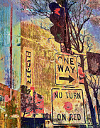 Street Signs Digital Art Posters - Minneapolis Uptown Energy Poster by Susan Stone