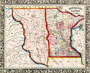 1860 Drawings - Minnesota and Dacotah  by Pg Reproductions