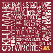 Mascot Prints - Minnesota College Colors Subway Art Print by Replay Photos
