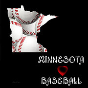Baseball Digital Art Posters - Minnesota Loves Baseball Poster by Andee Photography