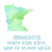 North Star Posters - Minnesota - North Star State - Land of 10-000 Lakes - Map - State Phrase - Geology Poster by Andee Photography