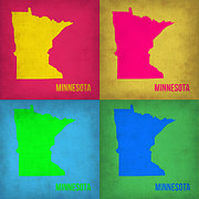 World Map Digital Art Metal Prints - Minnesota Pop Art Map 1  Metal Print by Irina  March