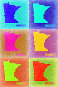 World Map Digital Art Metal Prints - Minnesota Pop Art Map 2 Metal Print by Irina  March