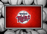 Baseball Bat Photo Framed Prints - Minnesota Twins Framed Print by Joe Hamilton