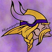 Vikings Mixed Media Prints - Minnesota Vikings Print by Todd and candice Dailey
