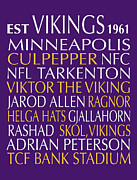 Vikings Digital Art Framed Prints - Minnesota Vikings Framed Print by Jaime Friedman