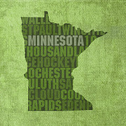 Minnesota Framed Prints - Minnesota Word Art State Map on Canvas Framed Print by Design Turnpike