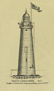 Ledge Drawings Prints - Minots Ledge Lighthouse Print by Jerry McElroy