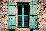 Rivets Art - Mint Green Window Shutters by Georgia Fowler