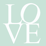 Words Background Prints - Mint Love Print by Nomad Art And  Design