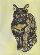 Furry Felines Painting Prints - Minxy - The Mischievous Cat Print by Moya Moon