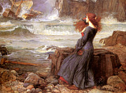 Miranda Framed Prints - Miranda and The Tempest Framed Print by John William Waterhouse