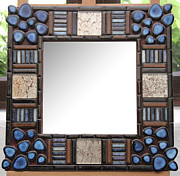 Mirror Ceramics - Mirroir deco bleu by Belka Alyss