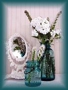 Phlox Digital Art Framed Prints - Mirrored Bouquet 1 Framed Print by Margaret Newcomb