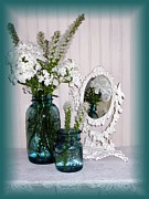 Phlox Digital Art Framed Prints - Mirrored Bouquet 2 Framed Print by Margaret Newcomb