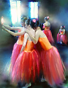 Mirrored Coral Dancers In Light Print by Donna Aloia