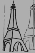 Black And White Paris Mixed Media Posters - Mirrored Eiffel Tower Poster by Robyn Saunders