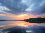 Chesapeake Bay Metal Prints - Mirrored Sunset Metal Print by JC Findley