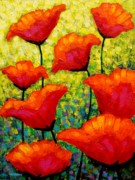 Texture Floral Painting Framed Prints - Mischas Poppies Framed Print by John  Nolan