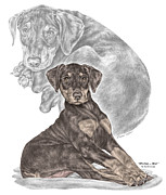 Pinscher Drawings Posters - Mischief ... Moi? - Doberman Pinscher Puppy - color tinted Poster by Kelli Swan