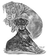 Pinscher Drawings Posters - Mischief ... Moi? - Doberman Pinscher Puppy  Poster by Kelli Swan