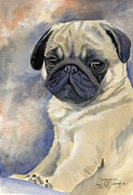 Puppy Print Framed Prints - Miss Puggles Framed Print by Suzanne Schaefer