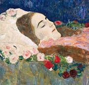 Miss Ria Munk On Her Deathbed Print by Gustav Klimt